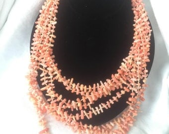 Pink Coral Necklace, Pink Coral Multistrand Necklace, Pink Coral Multi-Strand Necklace, Pink Coral Multi Strand Necklace, Free Shipping