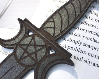 Leather ATHAME Patch / Dianic Wicca / Triple Goddess / Knife / Forest Fae / Neopagan Witchcraft / Genuine Leather
