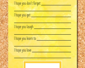 Yellow Watercolor Wishes For Baby - Baby Shower Activity - Instant Download - Printable Design