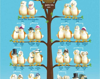 Decorative family tree - Girl / Blue