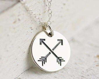 Friendship Necklace - Sterling Silver Friendship Arrows Necklace - Crossed Arrows Charm - Best Friend Gift - Friends Jewelry - Gift for BFF