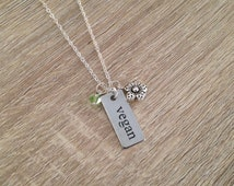 Stainless Steel Vegan Charm Necklace Silver Word Bar Pendant Animal Lover Jewelry Gift Swarovski Crystal Elements Silver Plated Chain