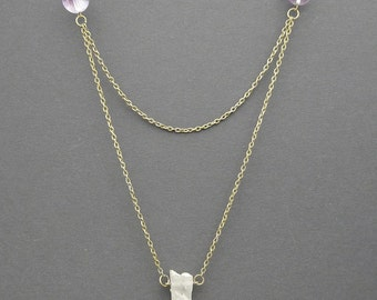 Raw Rock Crystal Layered Necklace, Healing Crystal , Crystal Point