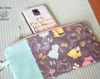 Cat pouch, Pencil case, Make up bag, Cat lover gift, Crazy cat lady, Toiletry bag, Kawaii cat phone case, Zipper pouch, Blue grey wallet