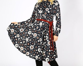 Long Sleeve Dress, Midi Dress, Shirt Dress, Swing Dress, Print Dress, Knee Dress, Plus Size Clothing, Retro Dress, Elegant Dress