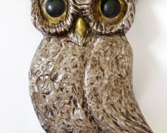 Vintage Hand-Painted Ceramic Owl Wall Art
