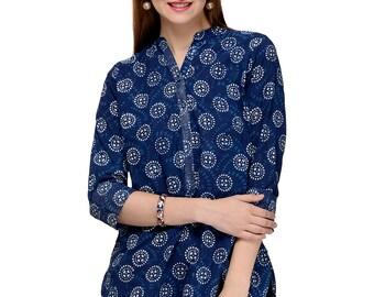 Indigo Hand Block Printed Indian Tunic/ Kurti with Silver Zari Embroidery