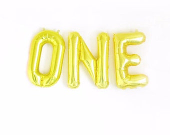 "ONE Gold Foil Balloon Banner - Gold Foil Balloon Letters Combo ""ONE"" (16""/41cm) - 1st Birthday Balloon"