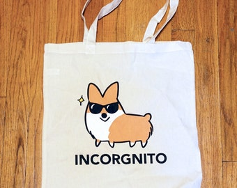 Incorgnito Corgi Tote Bag | Lightweight Canvas Tote | 100% Cotton | 15x16 inches