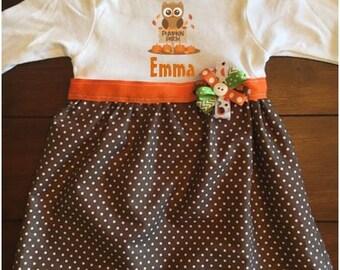 Pumpkin Patch Owl Baby Dress, Baby Fall Dress, Baby Thanksgiving Dress, First Thanksgiving Dress, Baby Pumpkin Patch Dress, Owl Baby Dress