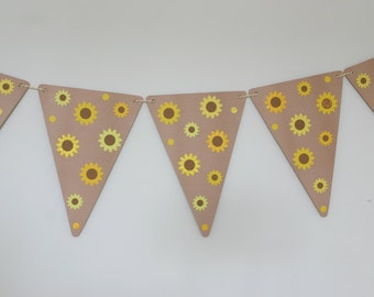 Sunflowers Bunting, Sunflowers Garland, Banner, Summer Wedding, Autumn Wedding, Paper Party Decoration, Harvest Festival, Lammas