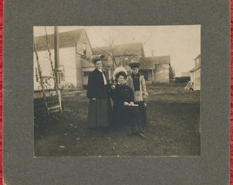 Vintage Mounted Photo Three Women in Coats with Big Hats