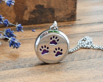 Paw Print Essential Oil Diffuser Necklace - Aromatherapy Necklace - Paw Print Jewelry - Aromatherapy Jewelry - Dog Paw Print Necklace