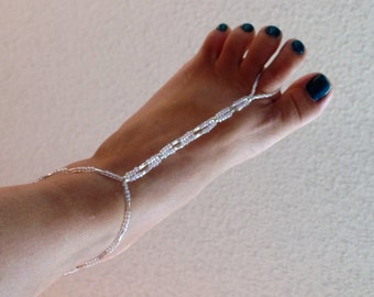 Beautiful bridesmaid barefoot sandals, wedding shoes, wedding jewelry, bridesmaid gift, iridescent,soleless sandals, made to order