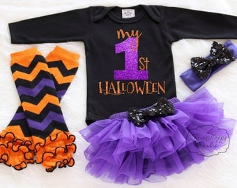 My First Halloween Outfit, Baby First Halloween, My First Halloween, Girl Pumpkin Outfit, Baby Halloween Tutu, Baby Halloween Headband HH5