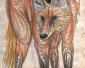 Maned Wolf Digital Art Print - A5/A4