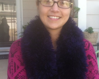 Fluffy Purple Knitted Cowl
