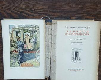 1920's Vintage Book- Rebecca Of Sunnybrook Farm- Illustrated Book, Hardcover Book- Vintage Classic Books, Children's Books-