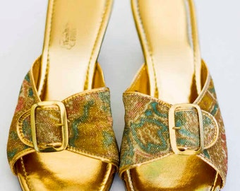 Vintage Women's Metallic Gold Heel (8 Ladies), Gold Pumps, Women's Heels,