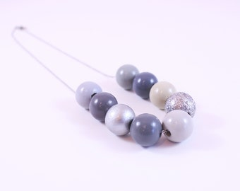 Cozy Gray Day: Modern Grays and Silvers Colorshift Gradient Ombre Statement Necklace Great For Wedding Colors Mothers Day or Girlfriend Gift