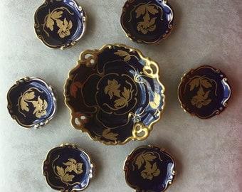 1925 Fine set porcelain - blue cobalt with gold decoration