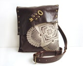Leather Lace and Key Boho Messenger Bag with Vintage Crochet Doily and Vintage Key - Medium Mahogany