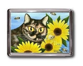 Tortoiseshell Cat Magnet Sunflowers Bumble Bees Fantasy Cat Art Framed Magnet Cat Lovers Gifts