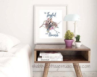 Printable Art - INSTANT Digital Download - Printable Art for Bedroom - Motivational Printable Quote - Bird Nest Florals Feathers