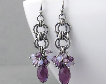 Purple Crystal Earrings Silver Drop Earrings Purple Earrings Sterling Silver Jewelry Amethyst Earrings Crystal Jewelry - Teardrop