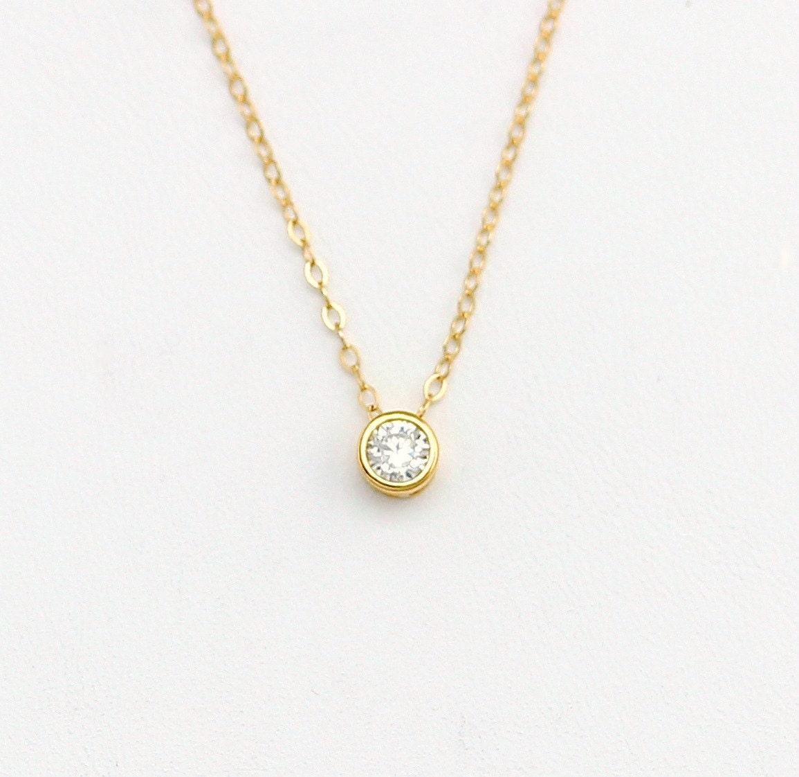 dainty tiny cubic zirconia necklace cz diamond necklace. Black Bedroom Furniture Sets. Home Design Ideas