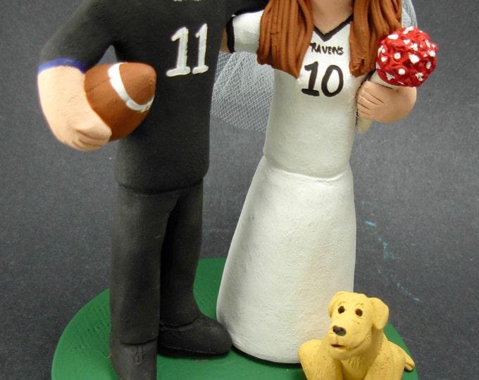 Baltimore Ravens Football Wedding Cake Topper,Football Wedding Anniversary Gift/Cake Topper, NFL Football Wedding CakeTopper,NCAA Caketopper