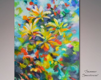 Abstract painting, original painting, acrylic painting, textured painting floral, gardens