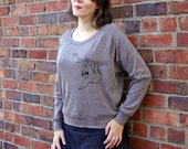 Gift for women, Sloth sweatshirt, Brown Tri blend, Graphic tee, Scoop neck tee, Sloth shirt, Yoga Pullover, Lounge top, Casual Friday shirt