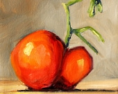 Original Still Life Oil Painting, Heirloom Tomato Portrait, Small 6x6 Stretched Canvas, Red Orange, Gray Kitchen Wall Decor, Food Art
