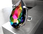 Large Teardrop Rainbow Crystal Ring, Swarovski Crystal Pear Shape Adjustable Ring, Swarovski Vitrail Crystal Antiqued Silver Cocktail Ring