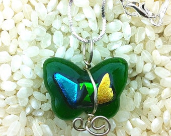 """Green Glass Butterfly Necklace Sterling Silver Wire Wrapped Art Glass Butterfly Shape with Metallic Dichroic Glass Detail with Chain 17.5"""""""