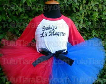 "SALE Harley Quinn Suicide Squad Shirt & Tutu Costume Set Daddy's Lil Monster Red Sleeved Top, Red Blue 8"" Extra Full Tutu Skirt for Girls"