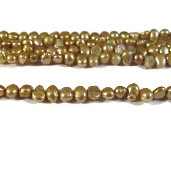 SALE 50% off - Freshwater Pearls, Delicate Golden Yellow Nugget Beads, 3.5-4mm, 15 Inch Strand, Long Drilled, Over 46 Loose Pearls (P-N2)