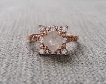 "Moonstone Diamond Engagement Ring Halo Square Vintage Antique Bohemian Raw Rustic Diamond Alternative 14K Rose Gold Rainbow ""The Penelope"""