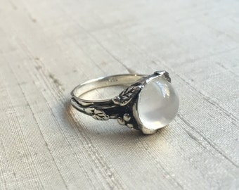 White Moonstone and Sterling Silver- Woodland Vine Ring