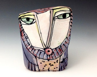 "Owl, Owl art, Clay owl, clay sculpture, ""Owl Person Singing Love into Being"", 3-5/8"" tall"