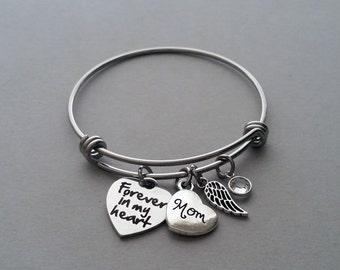 Forever In My Heart Bracelet, Mother Memorial Bracelet, Mom Memorial Bracelet, Loss Of Mother, Remembrance Charm Bracelet, Stainless Steel