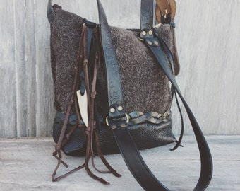 Black Leather and Brown Furry Suede Small Cross Body Bag by Stacy Leigh