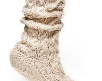 Best Seller! Cotton Scrunch Cable Socks in Ivory (Ready to Ship)