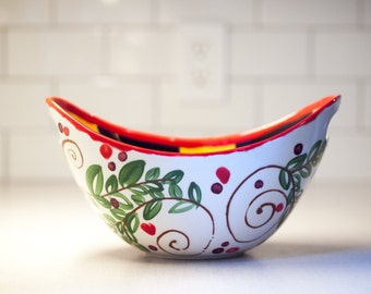 Serving Bowl Ceramic Serving Bowl Colorful Bowl with Handle Snack Bowl Parisian Pear Large Handled Bowl Pottery Gift for Her Hostess Gift PP