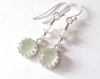 Prehnite Gemstone Earrings, Pastel Green Cabochons, Sterling Silver Gallery Bezel Set Dangling Earrings Spring Mothers Day
