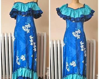 1980s | Blue Honolulu Dress | Vintage 80's Hawaiian Dress Blue Floral Holomu'u Off Shoulder Ruffle Dress Hoku Label Made in Hawaii Size L