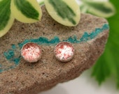 Strawberry Quartz Cabochon Studs, 14k Gold Stud Earrings or Sterling Silver Studs - 4mm, 6mm Low Profile Serrated or Crown Earrings