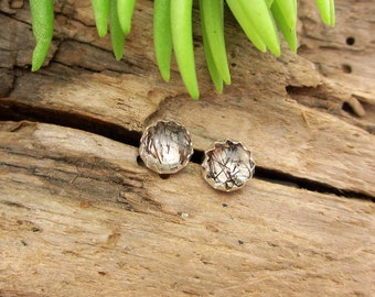 Tourmalinated Quartz Cabochon Studs, 14k Gold Stud Earrings or Sterling Silver Studs - 4mm, 6mm Low Profile Serrated or Crown Earrings