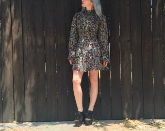 Long Sleeve Mini Dress // 90s Grunge // Floral Print // Boho Clothing // Festival Wear // 60s Clothing // Hippie Clothes // XXS XS